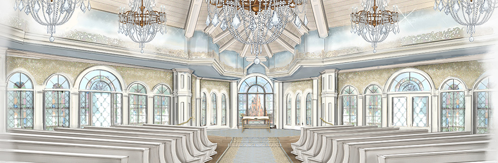 An artist's rendering of an elegant wedding chapel with a high beam ceiling, chandeliers, pews and arched stained glass windows